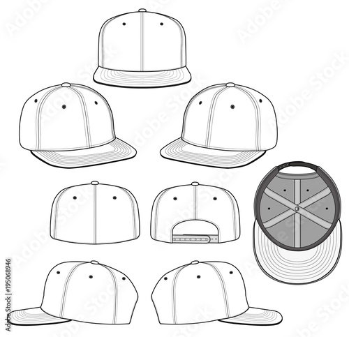 SNAPBACK Fashion Flat Technical Drawing Template