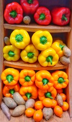 Colorful Bell Peppers Arrangement in all their Brilliance