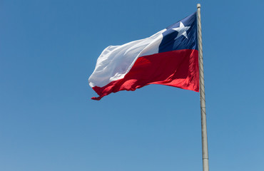 Flag of Chile developing against a clear blue sky