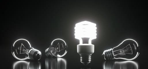 3D Rendering Of Bunch Classic Glass Light Bulbs With One Of Them Lighted On Dark Background With Reflection Surface