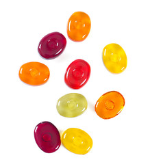 colorful fruit hard candy isolated on white
