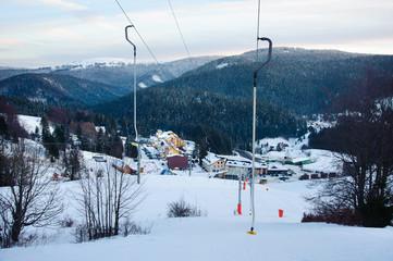 Yoke way on skiing resort. Mountain rope.