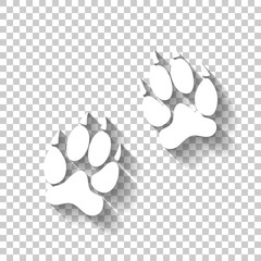 animal tracks icon. White icon with shadow on transparent background