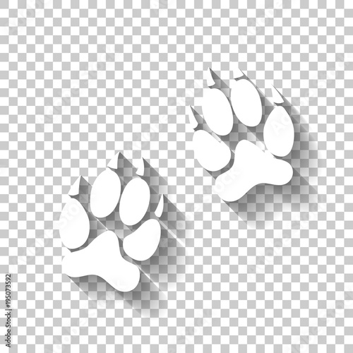 animal tracks icon. White icon with shadow on transparent