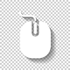 computer mouse icon. White icon with shadow on transparent background