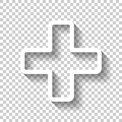 Medical cross icon. White icon with shadow on transparent background