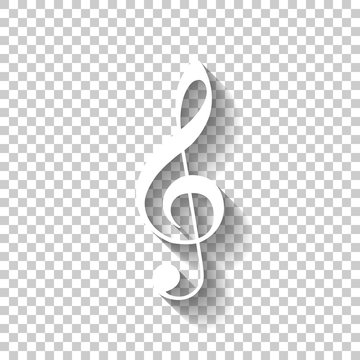 Simple icon of treble key. White icon with shadow on transparent background