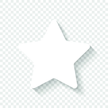 Star icon. White icon with shadow on transparent background