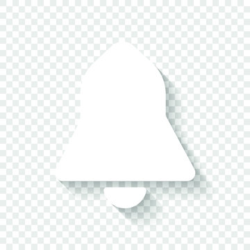 black bell icon. White icon with shadow on transparent background