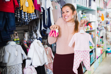 Mother consumer with children's wear