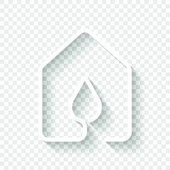 house with water drop icon. line style. White icon with shadow on transparent background