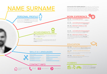 Web Resume Layout with Infographic Elements
