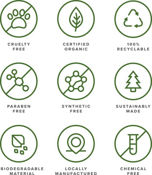 Health and beauty product flat vector icon set for organic, earth-friendly, socially conscious business.