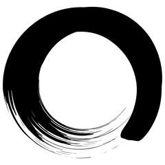 Brushstroke Texture Circle Black and White