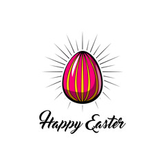 Pink Easter egg with holiday greeting. Happy Easter lettering. Vector illustration.