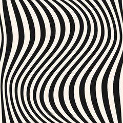 Vertical curved wavy lines pattern. Striped monochrome vector seamless texture