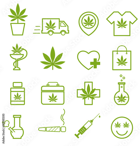 Marijuana Cannabis Icons Set Of Medical Marijuana Icons Marijuana