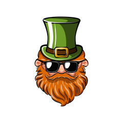 Saint Patrick s Day. Leprechaun with green hat, red mustache and beard and sunglasses. Vector.