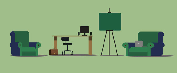 Interior, office, furniture, background, set of office furniture, flat style, vector illustration.