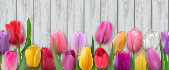Seamless horizontal pattern with tulips