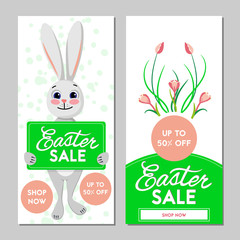 Two Easter sale banners. Vector illustration.
