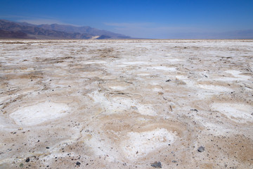 Salt Flat in Badwater Basin in Death Valley National Park (One of hottest places in the world), California , USA.