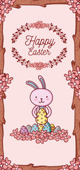 Happy easter card with cute animal cartoon