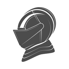 Head of a knight in armor. Vector illustration.