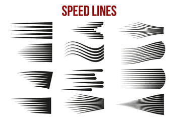 Speed lines black for Manga and Comic vector elements on white background. Wall mural