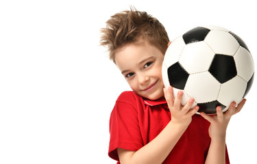 Fan sport boy player hold soccer ball in red t-shirt celebrating happy smiling laughing free text copy space