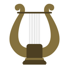Isolated lyre icon. Musical instrument