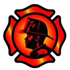 firefighter, man, fire, service, rescue, emergency, 911, icon, symbol, button, silhouette, profile, emblem, job, work, profession, industry
