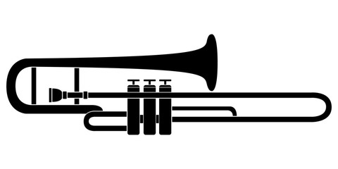 Isolated trombone icon. Musical instrument