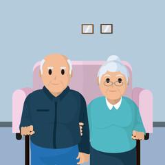 Cute grandparents couple cartoon