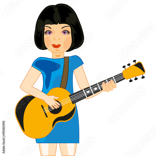 girl plays on guitar stock image and royalty free vector files on