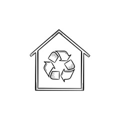Eco house with recycle symbol hand drawn outline doodle icon. Building with recycle sign vector sketch illustration for print, web, mobile and infographics isolated on white background.