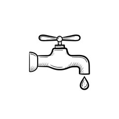 Water pipe with clean drop hand drawn outline doodle icon. Water drop falling from the pipe vector sketch illustration for print, web, mobile and infographics isolated on white background.