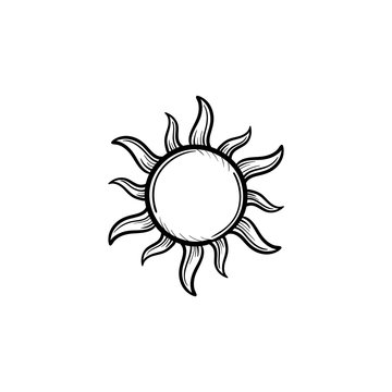 Sun hand drawn outline doodle icon. Renewable sun energy vector sketch illustration for print, web, mobile and infographics isolated on white background.