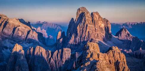 Dolomites mountain peaks evening glow at sunset, South Tyrol, Italy Wall mural
