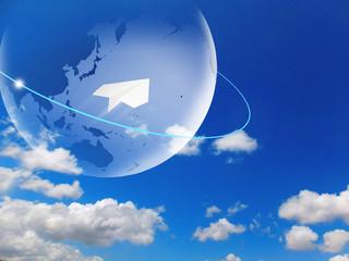 海外旅行 旅行 紙飛行機 グローバル 地球 青空 入道雲