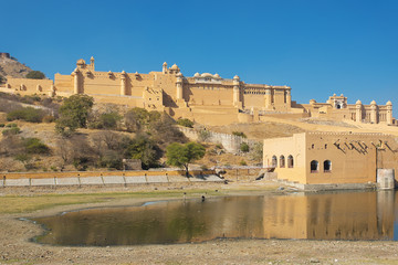 Lake in front of Amer Fort had crocodiles at one point