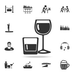 alcohol in glasses icon. Detailed set of night club and disco icons. Premium quality graphic design. One of the collection icons for websites, web design, mobile app