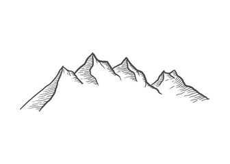 Outdoor Mountain line art vector illustration