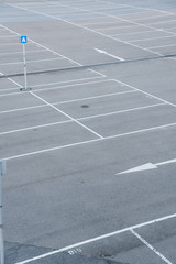 Car park with empty parking lots