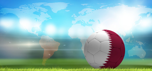 Qatar soccer football ball 3d rendering. Elements of this image furnished by NASA.