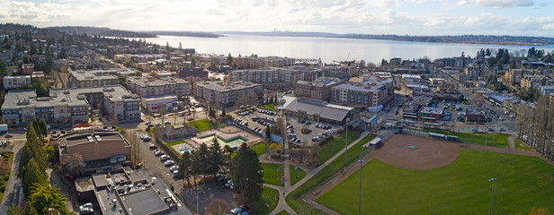 Kirkland Washington Downtown Aerial Panoramic View Looking Toward Lake Washington Seattle Skyline