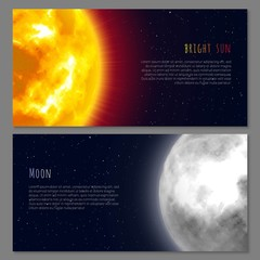 Two flayers with celestial bodies moon and sun, night background, cartoon style. Flyers and posters on space theme, design for all. Vector background on astronomical matter