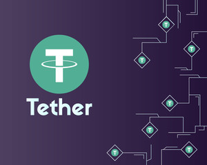 Tether cryptocurrency circuit network background style