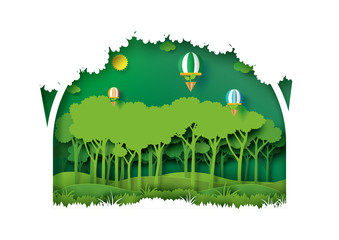Save eth earth and nature concept paper art style design.Forest plantation with green environment and ecology conservation concept.Vector illustration.