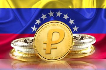 Petro Coins on Venezuela's flag, Cryptocurrency concept photo